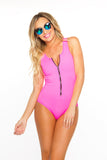 Zip Me Up One Piece- Neon Pink