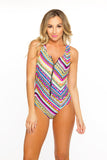 Zip Me Up One Piece- Tribal ZigZag w/Black Zipper