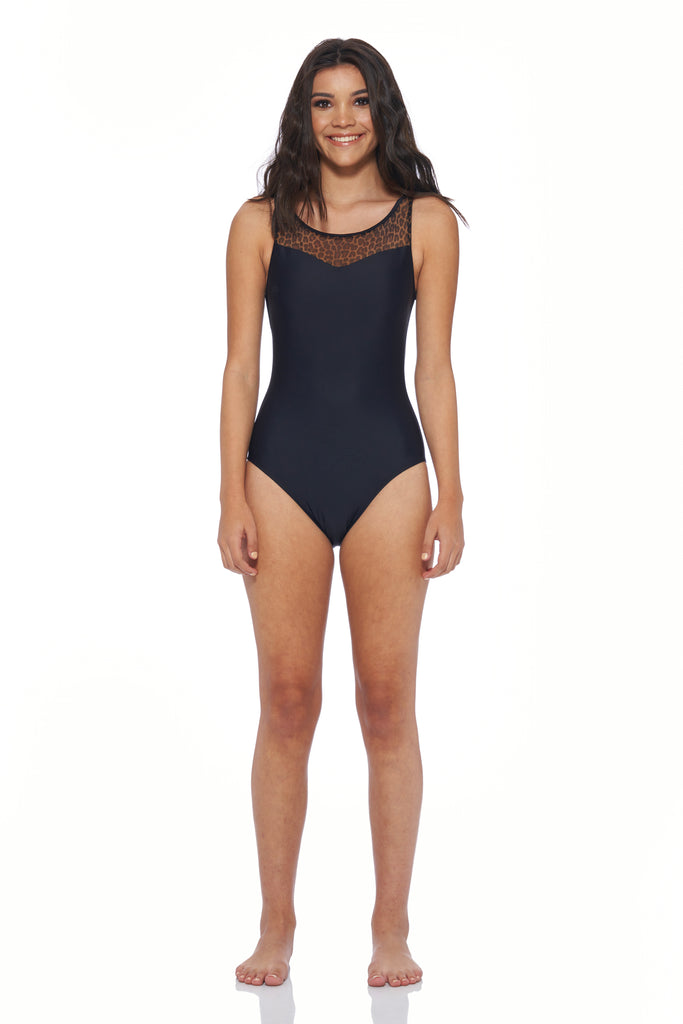 Brittany One Piece - Black / Leopard Mesh