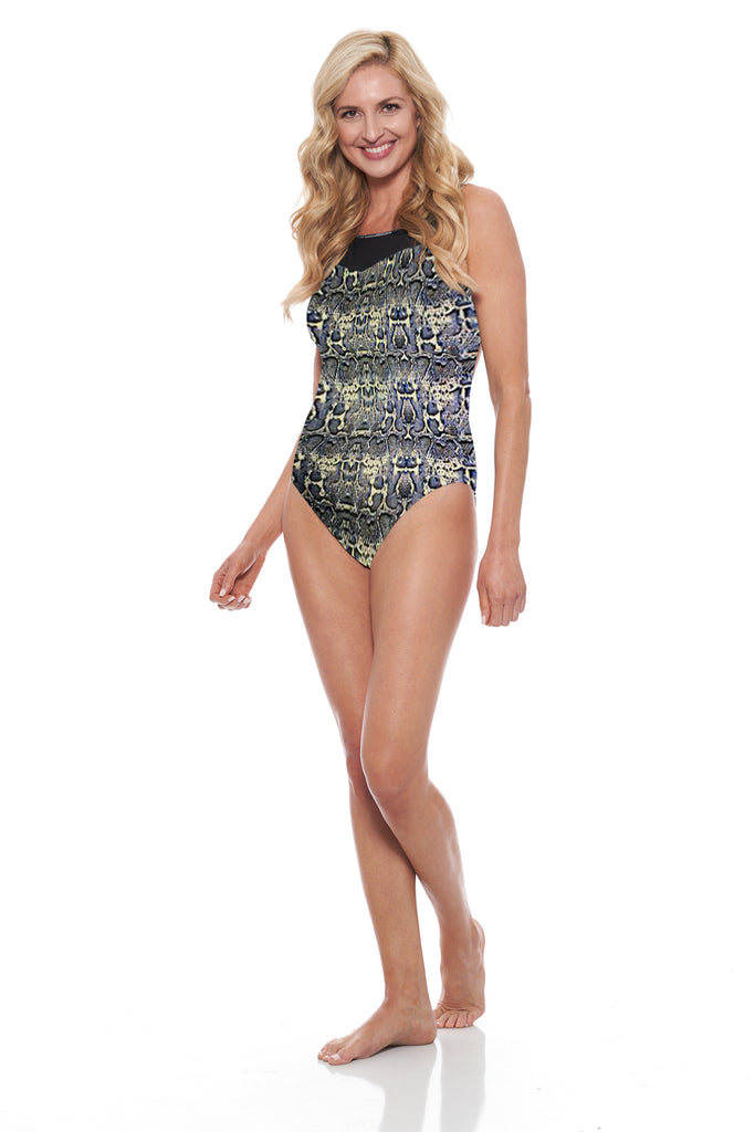 Brittany One Piece - Grey Snake / Black Mesh