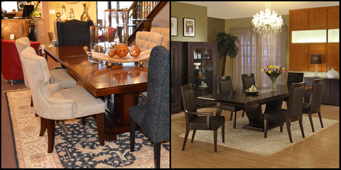 Dining Room Setting The Image On Left Indicates Correct Dimension Of Rug And One Right Shows Is Too Small