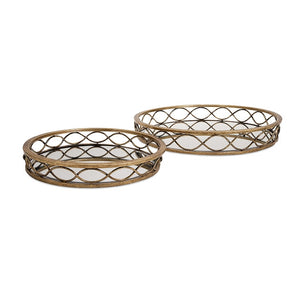 1015-Prestco Mirrored Trays- Set of 2-Trays