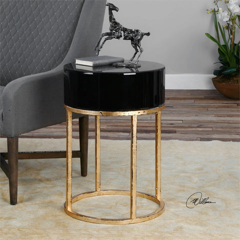 1043-Black/ Gold Round-Accent table