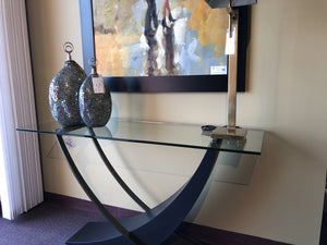 Contemporary Console with Glass Top