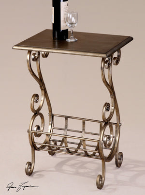 1275-Lightly Burnished Silver Leaf Finish-Magazine Table