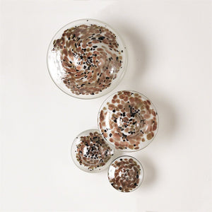 1276-Glass wall Mushrooms Metallic  set/4-Wall decor
