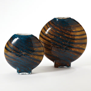 Colbalt Gold Swirl Vase Set of 2