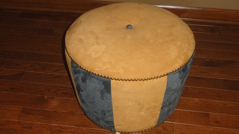 145-Brass Nail Head, Gold and Torquois fabric-Ottoman