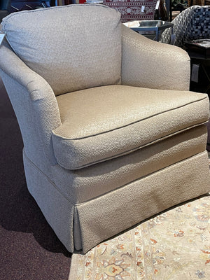 Swivel Chair in Laslo Taupe Fabric