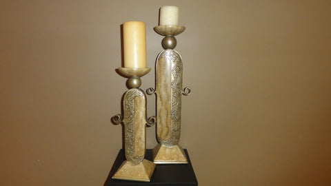 435-Candle Stick Large, Color Taupe and Gold-Candle Stand