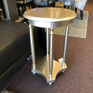 493-Round Pedestal Table in Silver-End Table