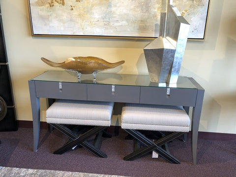 Contemporary Console with Grey Finish