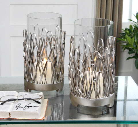 514-Hand Forged Metal with Silver Finish-Candle Holders