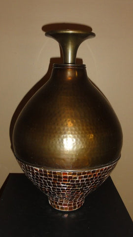 607-Jar Metal/ mosacq (Large)-Vase