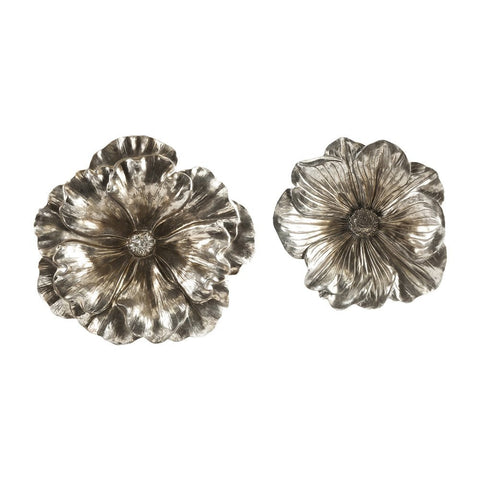 7876-Natalia Stick Silver Flowers - S/2-Wall Decor