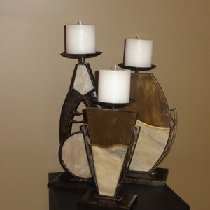 982-Candle Stand in Branze /Ivory (Set of 3)-Candle Stand
