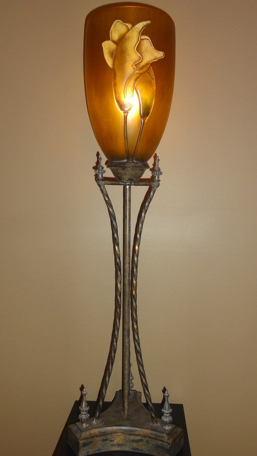 Tall Table Torchiere w/Gold Shade