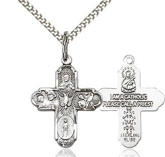 Sterling Silver 5-Way Cross 3/4