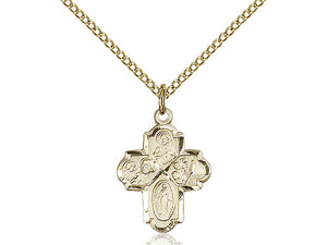 14kt Gold Filled 4-Way Pendant on a 18 inch Gold Filled Light Curb Chain - Unique Catholic Gifts