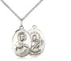 Sterling Silver Scapular Pendant on a 18 inch Sterling Silver Light Curb Chain - Unique Catholic Gifts