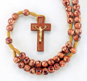 8mm Round Light Brown Marbleized Rosary with Wood Crucifix.