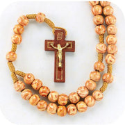 8mm Round Light Wood Marbleized Rosary with Wood Crucifix. - Unique Catholic Gifts