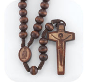 8mm Round Dark Brown Marbleized Rosary with Wood Crucifix.