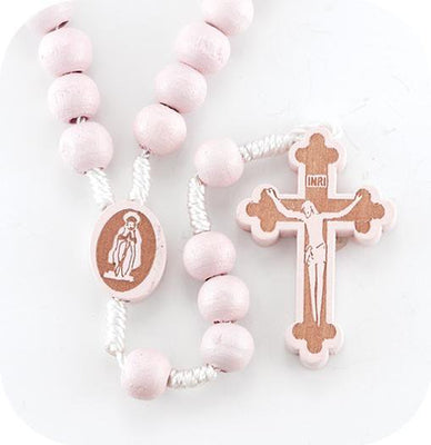 6mm Round Pink Bead Rosary with Wood Crucifix.