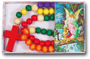 "Non Toxic Wooden Kiddie Rosary with 5 Different Colors 21"" - Unique Catholic Gifts"