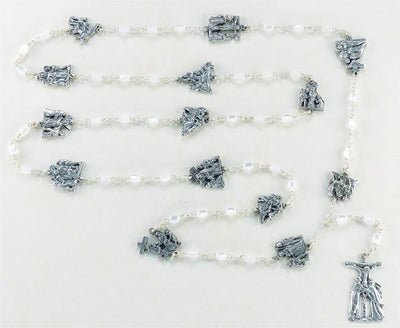 Oval Faux Mother of Pearl Bead 15 Stations of the Cross Rosary