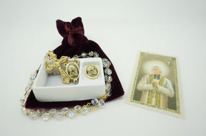 Saint John Vianney Rosary, Pin and prayer card - Unique Catholic Gifts