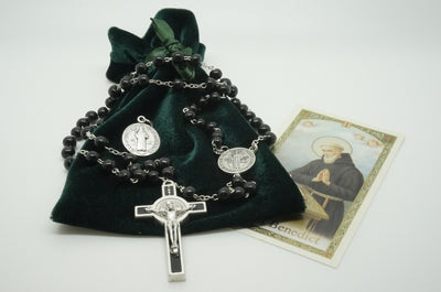 Saint Benedict Black Rosary,bag and prayer - Unique Catholic Gifts