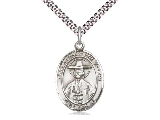 Sterling Silver St Andrew Kim Taegon Pendant on a 24 inch Light Rhodium Heavy Curb Chain. - Unique Catholic Gifts