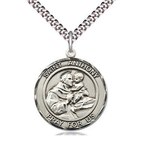 Sterling Silver St Anthony Pendant on a 24 inch Light Rhodium Heavy Curb Chain. - Unique Catholic Gifts