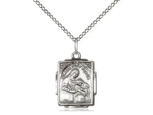 Sterling Silver St Ann Pendant on a 18 inch Sterling Silver Light Curb Chain.  Material - Unique Catholic Gifts