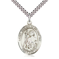 Sterling Silver St Adrian of Nicomedia Pendant on a 24 inch Light Rhodium Heavy Curb Chain. - Unique Catholic Gifts