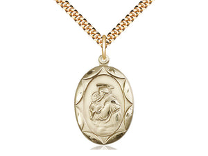 14kt Gold Filled St Anthony Pendant on a 24 inch Gold Plate Heavy Curb Chain. - Unique Catholic Gifts