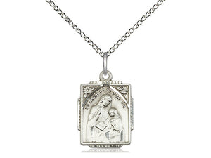 Sterling Silver St Anne Pendant on a 18 inch Sterling Silver Light Curb Chain. - Unique Catholic Gifts