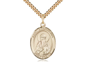 14kt Gold Filled St Athanasius Pendant on a 24 inch Gold Plate Heavy Curb Chain. - Unique Catholic Gifts