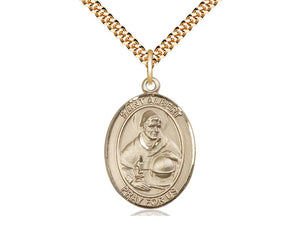14kt Gold Filled St Albert the Great Pendant on a 24 inch Gold Plate Heavy Curb Chain. - Unique Catholic Gifts