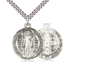 Sterling Silver St Benedict Pendant on a 24 inch Light Rhodium Heavy Curb Chain. - Unique Catholic Gifts