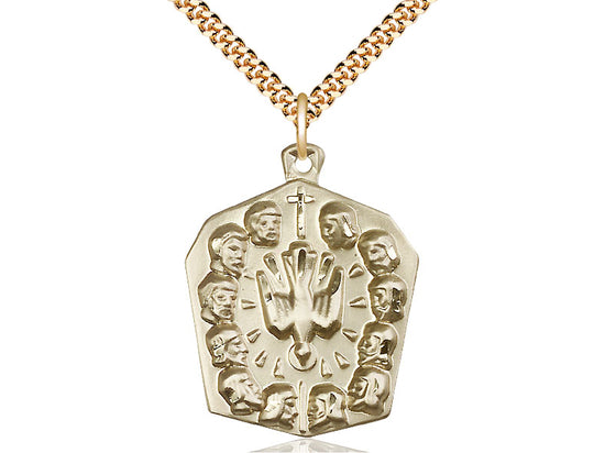 14kt Gold Filled Apostles Pendant on a 24 inch Gold Plate Heavy Curb Chain. - Unique Catholic Gifts