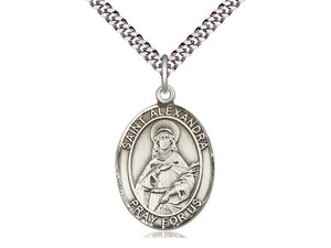 Sterling Silver St Alexandra Pendant on a 24 inch Light Rhodium Heavy Curb Chain. - Unique Catholic Gifts