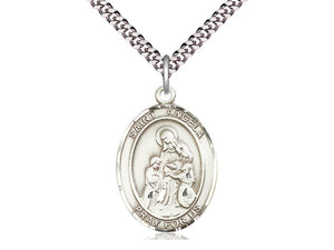 Sterling Silver St Angela Merici Pendant on a 24 inch Light Rhodium Heavy Curb Chain. - Unique Catholic Gifts