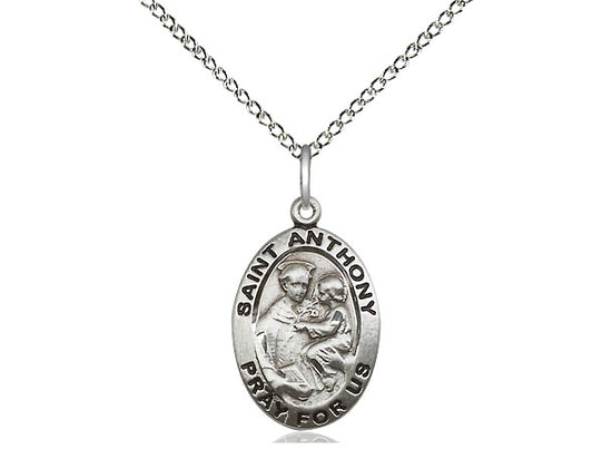 Sterling Silver St Anthony of Padua Pendant on a 18 inch Sterling Silver Light Curb Chain. - Unique Catholic Gifts