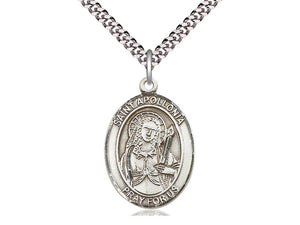 Sterling Silver St Apollonia Pendant on a 24 inch Light Rhodium Heavy Curb Chain. - Unique Catholic Gifts