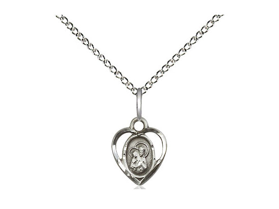 Sterling Silver St Ann Pendant on a 18 inch Sterling Silver Light Curb Chain. - Unique Catholic Gifts