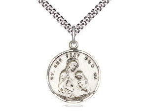 Sterling Silver St Ann Pendant on a 24 inch Light Rhodium Heavy Curb Chain. - Unique Catholic Gifts