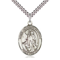 Sterling Silver St Anthony of Egypt Pendant on a 24 inch Light Rhodium Heavy Curb Chain. - Unique Catholic Gifts