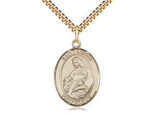 14kt Gold Filled St Agnes of Rome Pendant on a 24 inch Gold Plate Heavy Curb Chain. - Unique Catholic Gifts